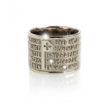 Tuum anello Padre Nostro oro 9 kt con diamanti