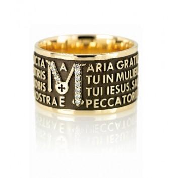 Tuam anello Ave Maria oro 9 kt con diamanti