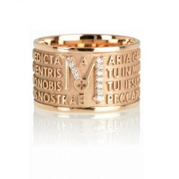Tuam anello Ave Maria oro 18 kt con diamanti