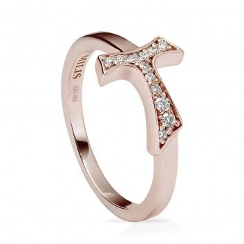 Humilis anello segno in argento placcato oro rosa e zirconi