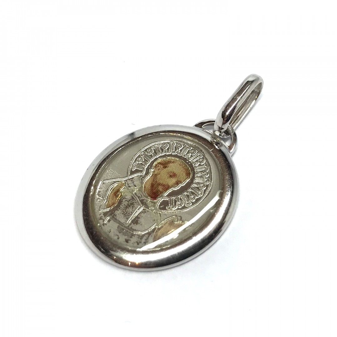 925 Sterling Silver Rhodium Plated Spanish Saint Anne Medal Pendant