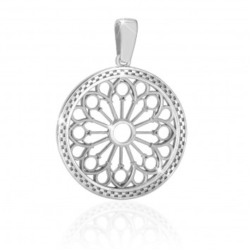 Rose window pendant white gold