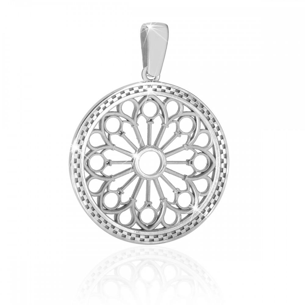 913db6f83f3 Humilis white gold rose window pendant