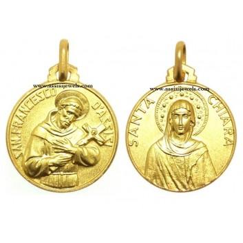 Medaglia di San Francesco e Santa  Chiara oro 18 kt