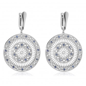 White gold AQUA rose window earrings