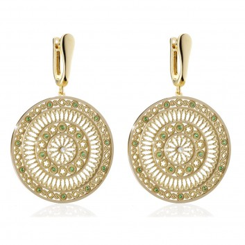 Yellow gold TERRA rose window earrings