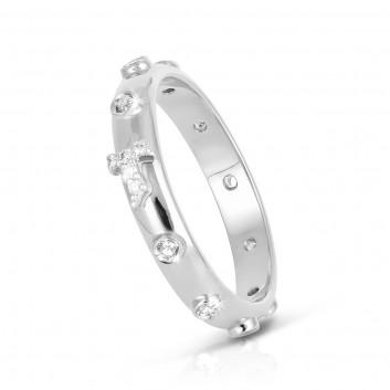 Humilis white gold AERE rosary ring