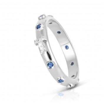 Humilis white gold AQUA rosary ring