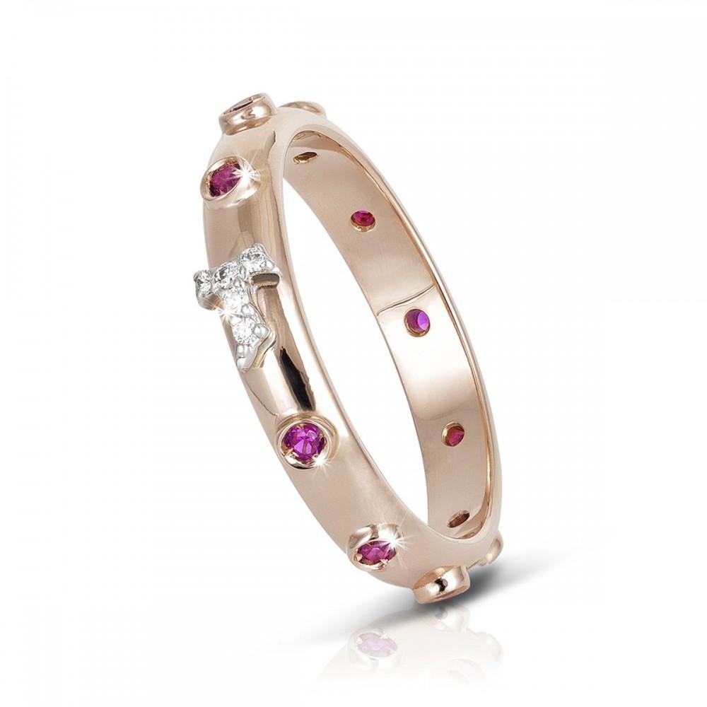 Humilis anello rosario FOCU in oro rosa