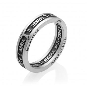 Humilis anello BENEDIZIONE DI SAN FRANCESCO in argento brunito