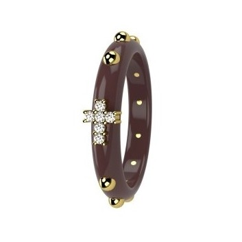 Nardelli gold and ceramic rosary ring