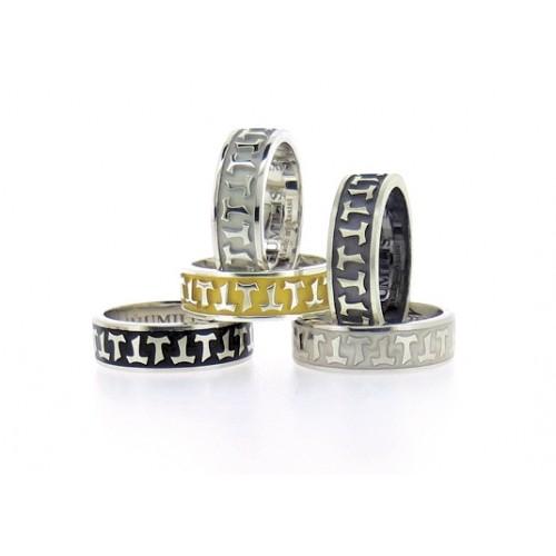 Humilis anello classico in argento brunito