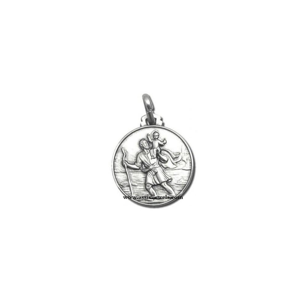 medaglia San Cristoforo Argento 925//1000 con collana 46cm barca e macchina sul retro Aereoplano