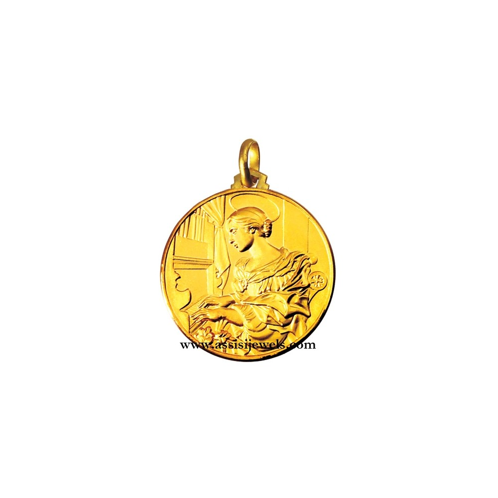 18 kt gold saint cecilia medal assisi jewels 18 kt gold saint cecilia medal mozeypictures Choice Image