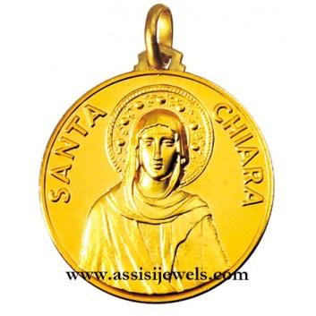 Medaglia di Santa  Chiara oro 18 kt