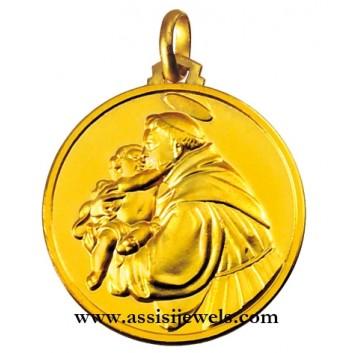 Medaglia di San Antonio di Padova oro 18 kt
