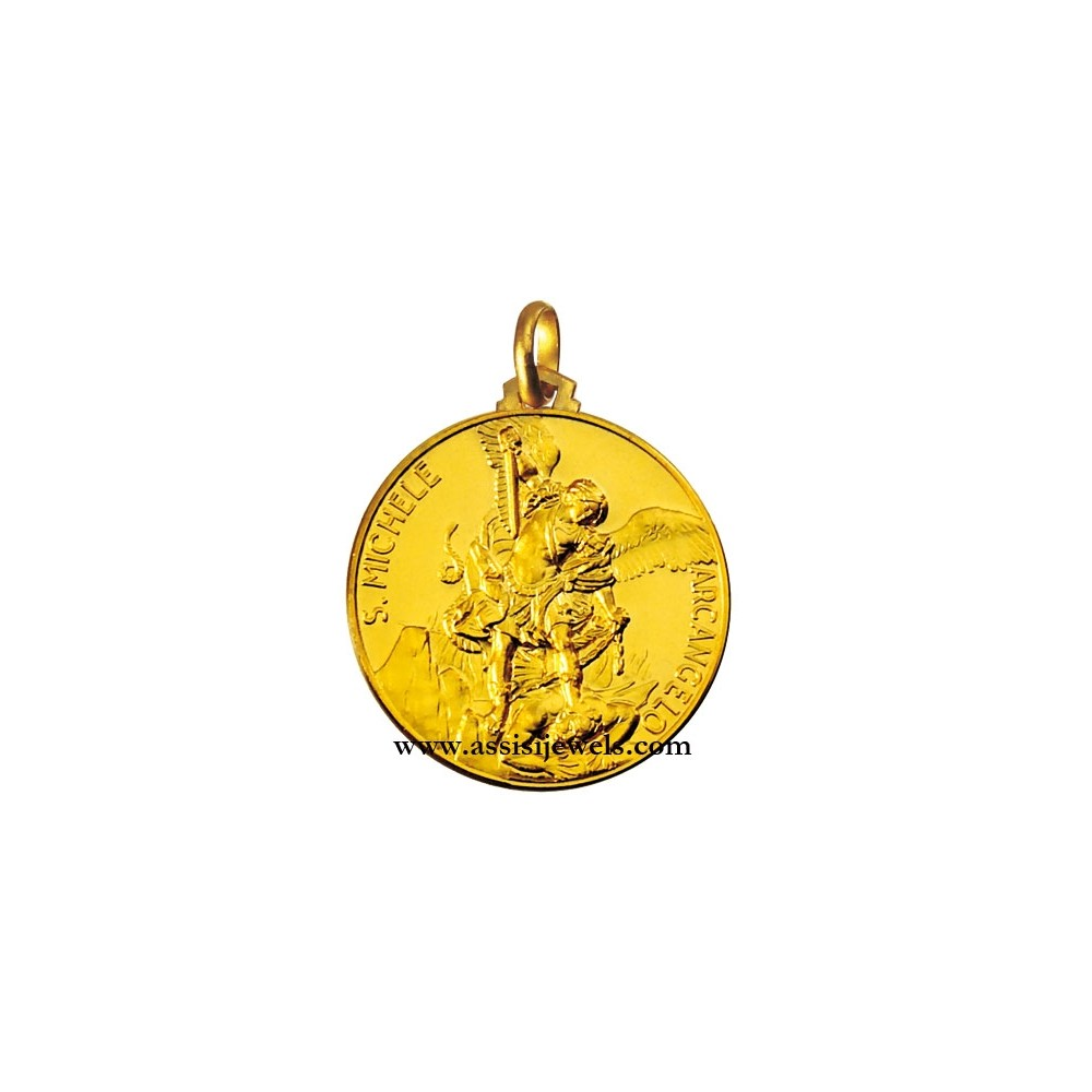 18 kt gold saint michael the archangel medal mozeypictures Image collections