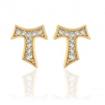 Humilis orecchini in argento placcato oro giallo con zirconi
