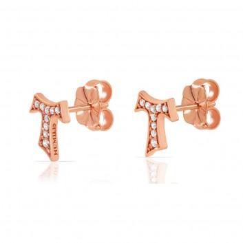 Humilis orecchini in argento placcato oro rosa con zirconi