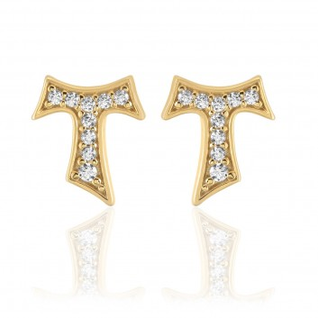 Humilis yellow gold earrings with zirconia