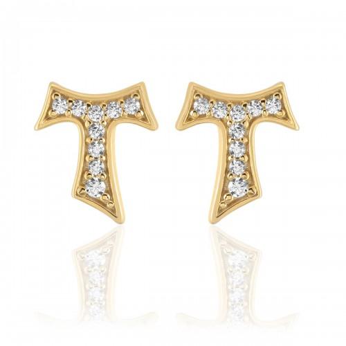 Humilis yellow gold earrings with zirconia