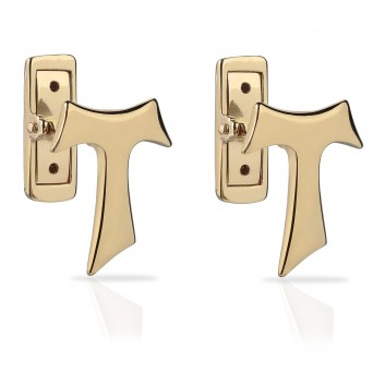 Humilis yellow gold plated sterling silver SIGN Tau cufflinks