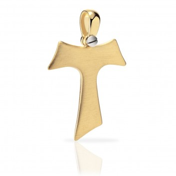 Humilis yellow gold satin Tau cross