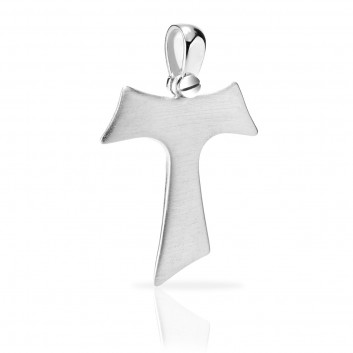 Humilis white gold satin Tau cross