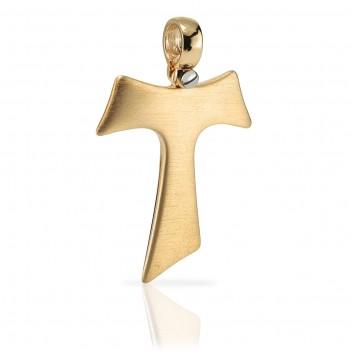 Humilis Croce Tau in oro giallo satinato