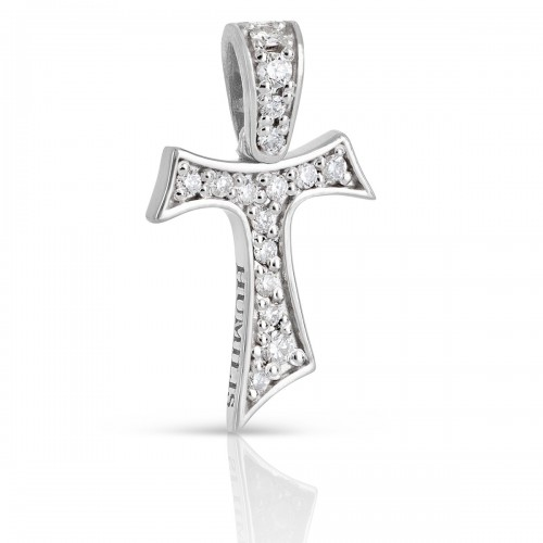 Humilis white gold Tau cross with zirconia