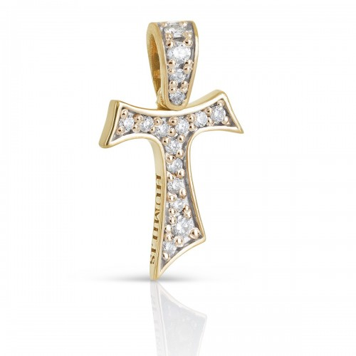 Humilis yellow gold Tau cross with zirconia
