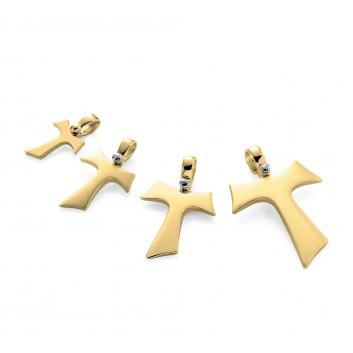 Humilis yellow gold Tau cross with zirconia