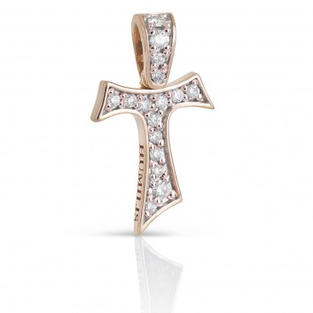 Humilis rose gold Tau cross with zirconia