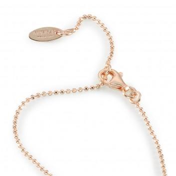 Humilis catena pallinata brillante in argento placcato oro rosa