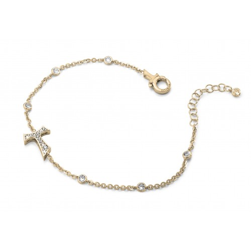 Humilis yellow golden plated sterling silver bracelet with zirconia