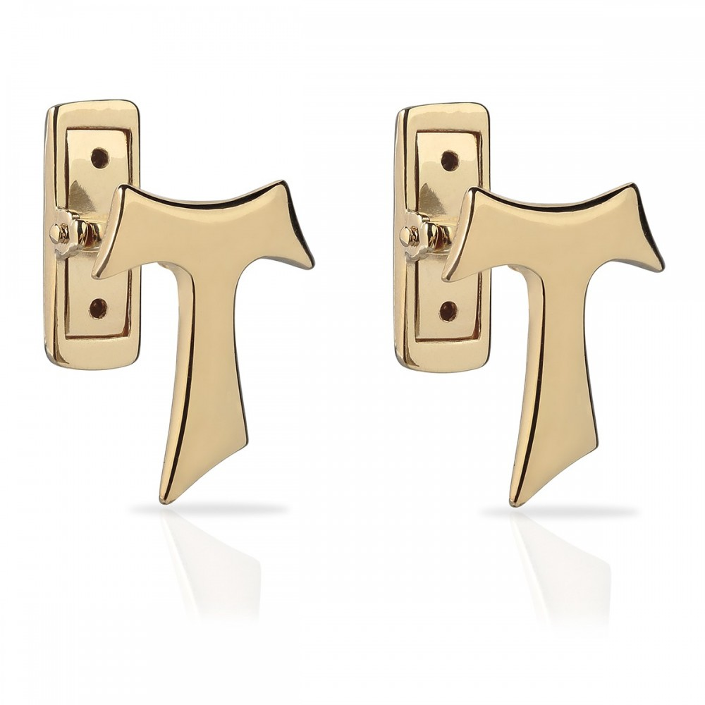 Humilis yellow gold Tau cufflinks