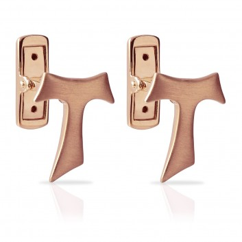 Humilis satin rose gold Tau cufflinks