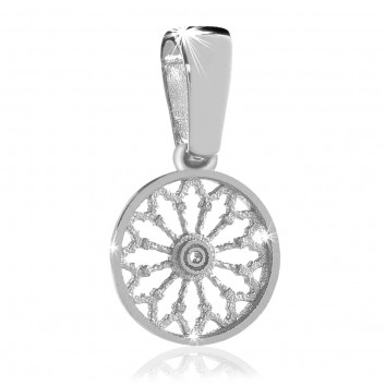 Sterling silver rose window pendant
