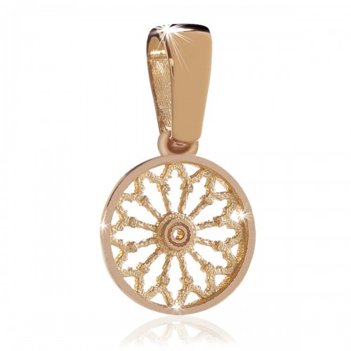 Rose gold plated rose window pendant