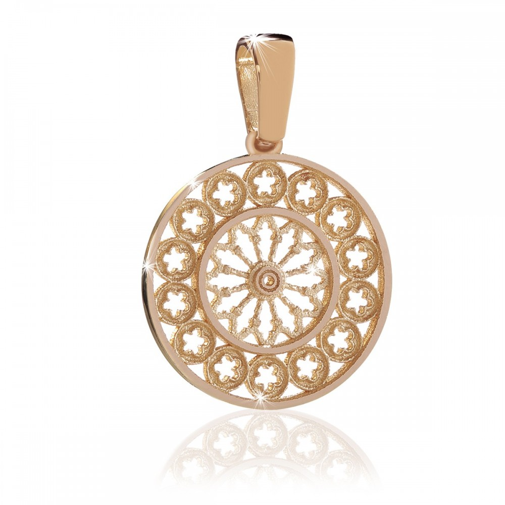 Silver gold rose window Assisi charm