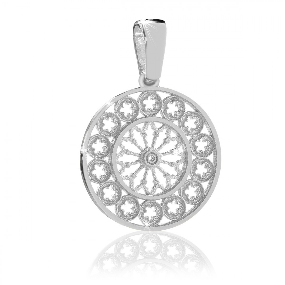 Humilis sterling silver rose window pendant