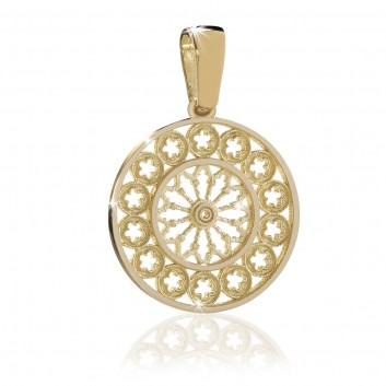 Yellow gold rose window pendant