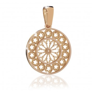 Assisi Rose Window - rose gold charm