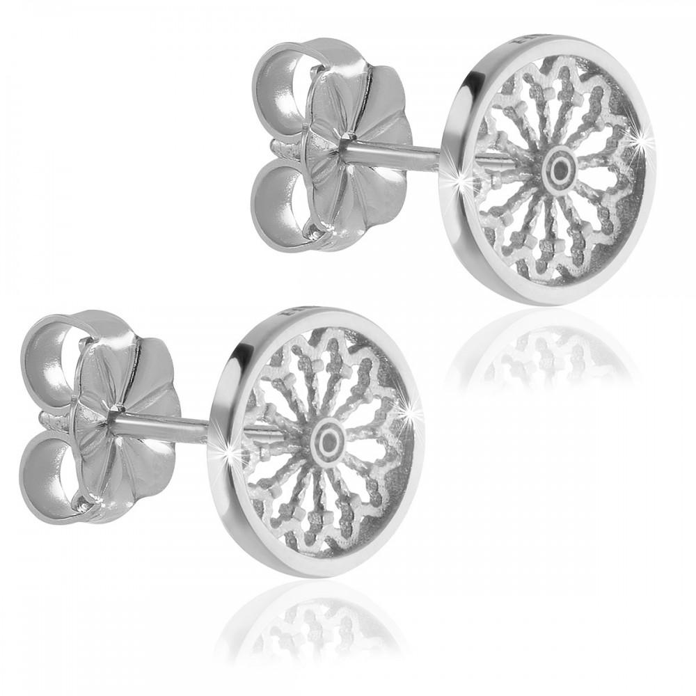 Sterling silver rose window earrings