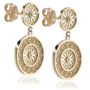 Humilis orecchini rosoni in argento placcato oro giallo