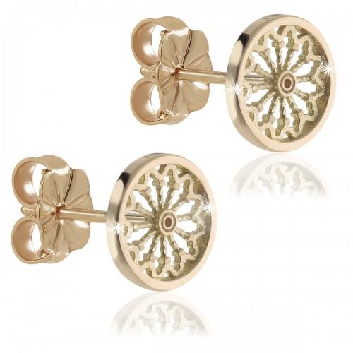 Gold religious jewellery - rose windows of Assisi earrings