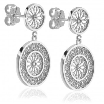 White gold rose window earrings - religious jewellery from Assisi