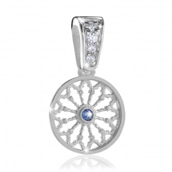 Sterling silver AQUA rose window pendant