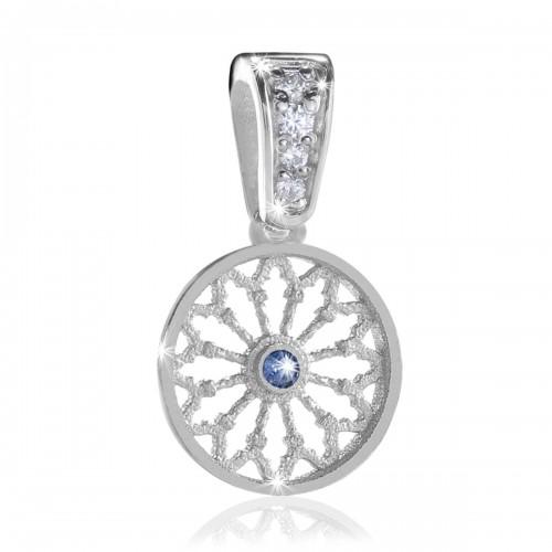 Sterling silver AQUA rose window pendant