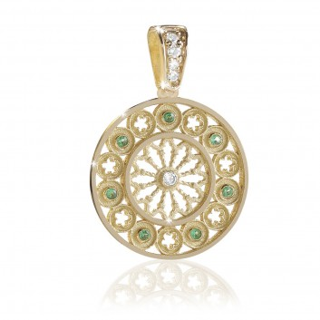TERRA rose window pendant charm